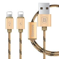 Кабель Baseus Portman 2-в-1/1.2m Lightning Gold для Apple IPhone/IPad/IPod