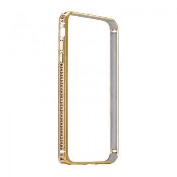 Бампер металлический Coteetci со стразами Diamond Gold для iPhone 7/8