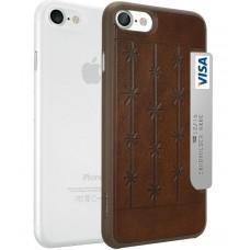 Чехлы пластиковые O!coat Jelly+Pocket 2 in 1 case with Card Holder Brown/Clear для iPhone 7/8