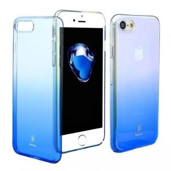 Чехол пластиковый прозрачный градиентный Baseus Glaze Blue для Apple iPhone 7/8