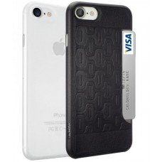 Чехол силиконовый O!coat Jelly+Pocket 2 in 1 case with Card Holder Black/Clear для iPhone 7/8