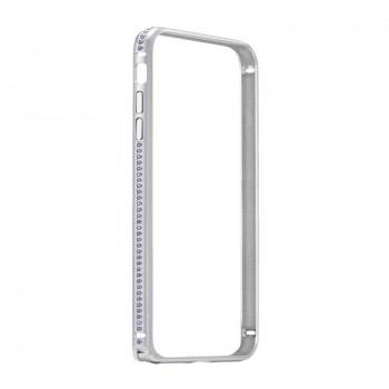 Бампер металлический Coteetci со стразами Diamond Silver для iPhone 7/8