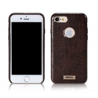 Чехол кожаный REMAX Maso Series Crocodile Leather Coated Hard Case Brown для iPhone 7/8