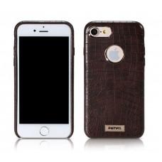 Чехол кожаный REMAX Maso Series Crocodile Leather Coated Hard Case Brown для iPhone 7/8