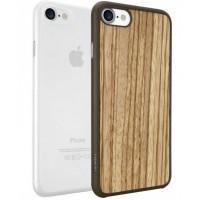 Чехлы силиконовые O!coat Jelly+Wood case Zebrano/Clear для iPhone 7/8