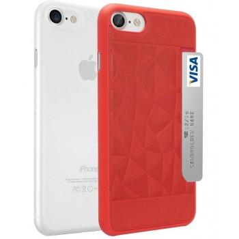 Чехлы пластиковые O!coat Jelly+Pocket 2 in 1 case with Card Holder Red/Clear для iPhone 7/8