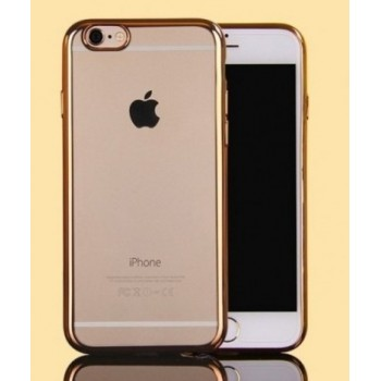 Чехол силиконовый прозрачный с окантовкой Gold для iPhone 7/8