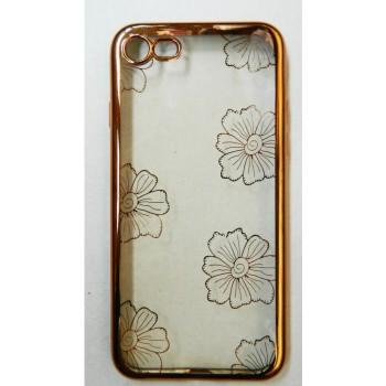 Чехол силиконовый прозрачный с окантовкой Flower для iPhone 7/8
