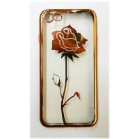 Чехол силиконовый прозрачный с окантовкой Rose для iPhone 7/8