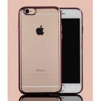 Чехол силиконовый прозрачный с окантовкой Rose Gold для iPhone 7/8