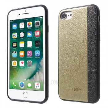 Чехол пластиковый DEU Oriental Floral Leather Skin Plastic TPU Gold для iPhone 7/8