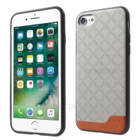 Чехол пластиковый DEU Rhombus Pattern Leather Skin Hybrid Grey для iPhone 7/8