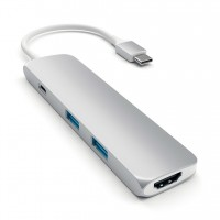 Адаптер-переходник Satechi Aluminum Type-C Slim Port Adapter 4K Silver для Macbook
