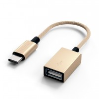Адаптер-переходник Satechi ST-TCCAG Type-C to Type-A Cabled Adapter Gold для Macbook