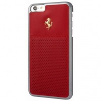 Чехол Ferrari GTB Perforated Leather Hard Case Gold Logo Red для iPhone 6/6S