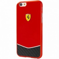 Чехол пластиковый Ferrari Scuderia Hard Case Glossy Real Carbon Fiber Bottom красный для iPhone 6/6S