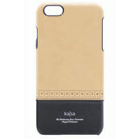 Чехол кожаный Kajsa Preppie Leather Back Beige Black для iPhone 6/6S