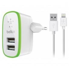 Сетевое зарядное устройство Belkin Home Charger 2 USB Port 10Watt 2.1 Amp Lightning Cable White для iPhone/смартфона/планшета