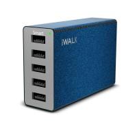 Сетевое зарядное устройство iWalk Leopard M5 5USB 8A Blue для IPad/IPhone/смартфона