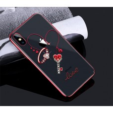 Чехол-накладка Kingxbar Swarovski Cupid Series Heart Red для iPhone X/XS