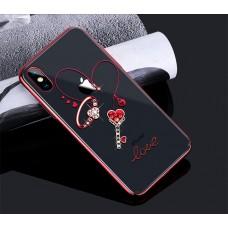 Чехол-накладка Kingxbar Swarovski Cupid Series Heart Red для iPhone X/XS