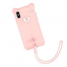 Чехол силиконовый Baseus 3D Bear Pink для iPhone XR