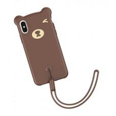 Чехол силиконовый Baseus 3D Bear Brown для iPhone XR