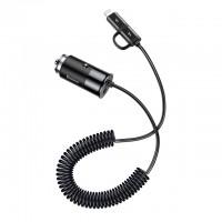 Автомобильная зарядка Baseus Enjoy Together 2-in-1 Car Charger USB Type-C+Lightning Black для iPhone/iPod/iPad/Macbook/смартфона/планшета