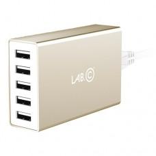 Сетевое зарядное устройство Lab.C 587X5 5USB 8A Gold для MacBook/iPhone/iPad/смартфона/планшета