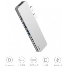 Адаптер-переходник Wiwu Adapter T8 USB-C to 2xUSB-C+HDMI+micro SD+SD+2xUSB3.0 HUB Silver для Apple Macbook