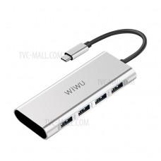 Адаптер-переходник Wiwu Adapter HUB USB Type-C 4 in 1 A440 Silver для Apple Macbook/Google Chromebook/Samsung Tab Pro S/ноутбука/планшета