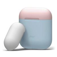 Чехол силиконовый Elago Silicone Duo Case голубой для Apple Airpods