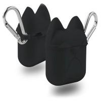 Чехол силиконовый Silicone Case Dog с карабином Black для Apple Airpods