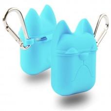 Чехол силиконовый Silicone Case Dog с карабином Blue для Apple Airpods