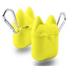 Чехол силиконовый Silicone Case Dog с карабином Yellow для Apple Airpods