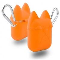 Чехол силиконовый Silicone Case Dog с карабином Orange для Apple Airpods