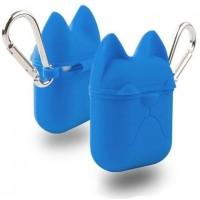 Чехол силиконовый Silicone Case Dog с карабином Royal Blue для Apple Airpods