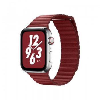 Ремешок кожаный Coteetci W7 Leather Magnet Band Красный 42/44mm для Apple Watch