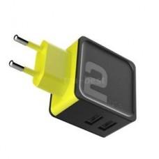 Сетевое зарядное устройство Rock Sugar Travel Charger 2 USB Port Black Yellow для iPhone/iPad
