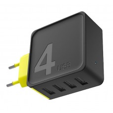 Сетевое зарядное устройство Rock Sugar Travel Charger 4 USB Port Black Yellow для iPhone/iPad