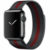 Ремешок стальной Milanese Loop Black Red 38/42mm для Apple Watch