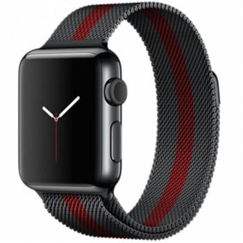 Ремешок стальной Milanese Loop Black Red 38/42mm для Apple Watch