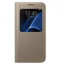 Чехол кожаный S View Cover Case Gold для Samsung Galaxy A7/A7100