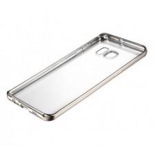 Чехол силиконовый прозрачный с глянцевой окантовкой Silver для Samsung S7 EDGE