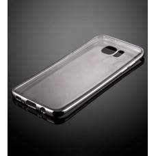 Прозрачный силиконовый чехол для Samsung Galaxy S7 с глянцевой окантовкой - Black