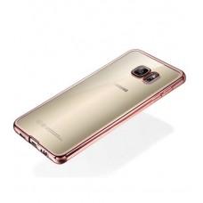 Прозрачный силиконовый чехол для Samsung Galaxy S7 с глянцевой окантовкой - Rose Gold