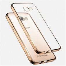 Чехол силиконовый прозрачный с глянцевой окантовкой Gold для Samsung J1 mini
