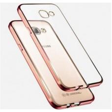 Чехол силиконовый прозрачный с глянцевой окантовкой Rose Gold для Samsung J7