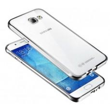 Чехол силиконовый прозрачный с глянцевой окантовкой Silver для Samsung J1 mini