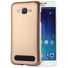 Чехол пластиковый Motomo Armor Metal TPU Protective Case Gold для Samsung Galaxy J7